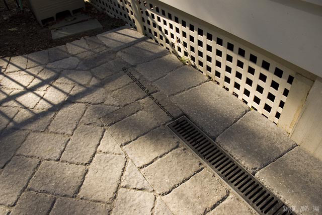 Etonnant Grate Drain Along Foundation Of Home ~ Foundation Drainage System Embedded  Within Patio Pavers.