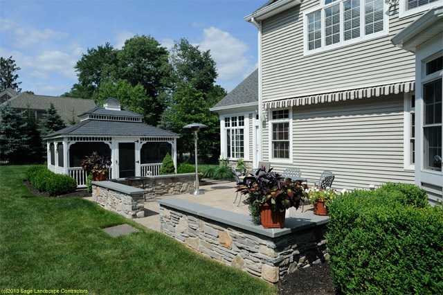 Gentil Traditional Concrete Patio With Stone Sitting Wall, And Gazebo   Watchung,  New Jersey