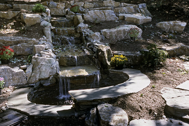 Pond with stepped boulder and waterfall pond photo 2 of 3 for Pond waterfall construction