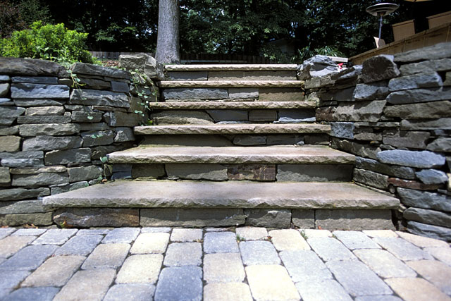 Merveilleux Bluestone Path With Brick Paver Patio, Retaing Walls And Stone Steps With  Granite Treads