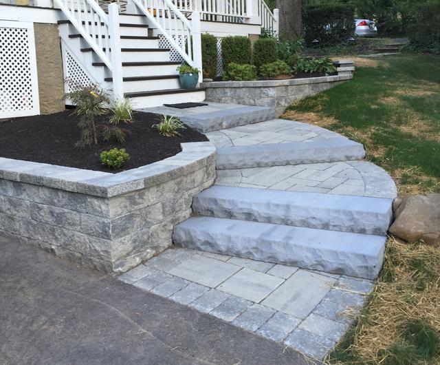 Techo Bloc Stone Slab Steps With Paver Walkway Chatham Nj