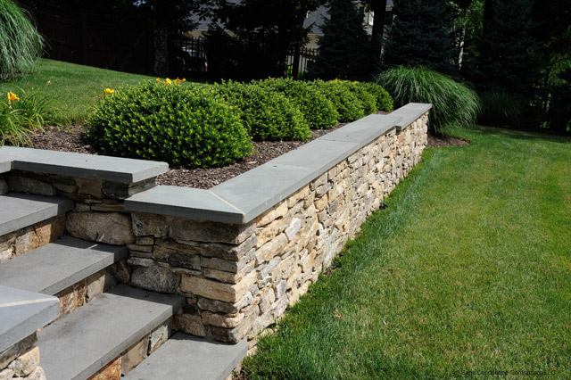 Natural Stone Wall Caps : Structural retaining wall with blue stone caps and steps