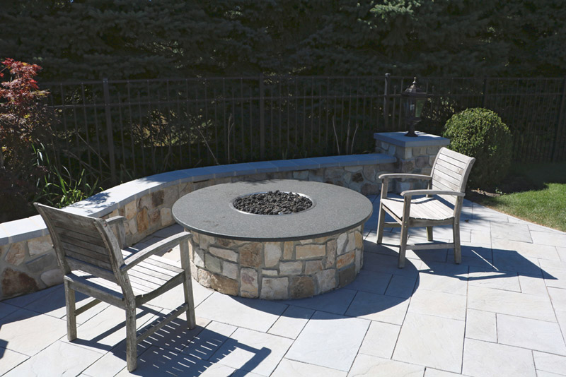 HPC circular burner, stone firepit and patio