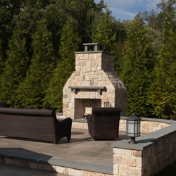 large outdoor fireplace construction