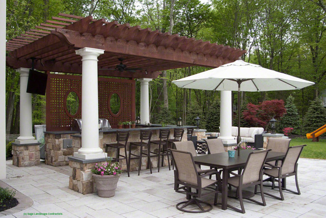 Natural Stone And Concrete Patio With Outdoor Kitchen, Pergola And Fire Pit    Bernardsville, New Jersey