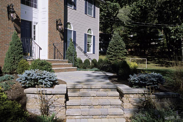 Outdoor Stone Step And Walkway Construction In Basking