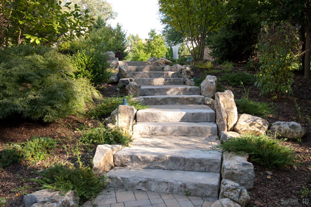 Paver walkway with stone slab granite steps in greenbrook new jersey