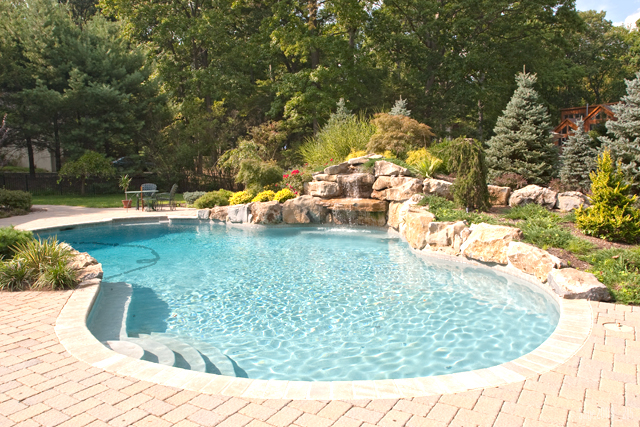 swimming pool construction with techo bloc pool patio. Black Bedroom Furniture Sets. Home Design Ideas